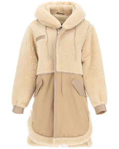 COTTON PARKA WITH LEATHER AND SHEARLING INSERTS