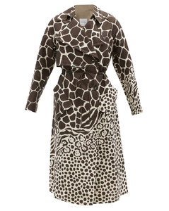 Drawcord giraffe-print linen trench coat