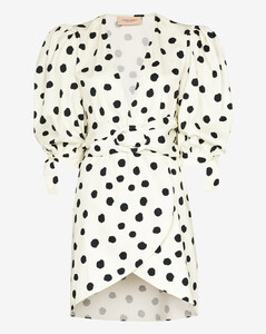 Pois belted mini dress