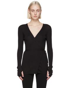 黑色羊绒裹身开衫