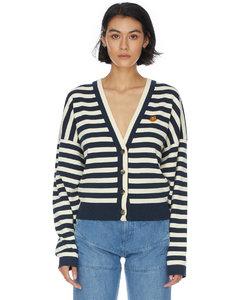 Tiger Crest Striped Cardigan - Cream