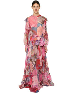 Printed Silk Chiffon Long Dress