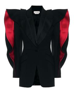荷叶边羊毛和真丝混纺西装式外套