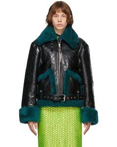 黑色羊羔绒皮革夹克