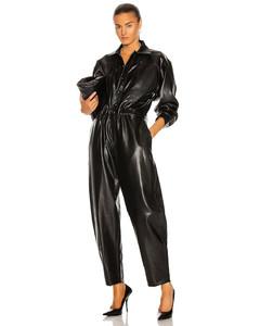 Vegan Leather 80's Jumpsuit in Black