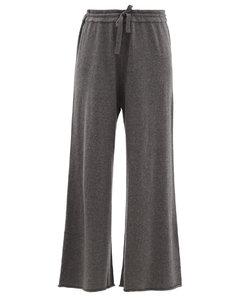 Drawstring cashmere wide-leg trousers