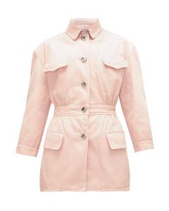 Gathered-waist denim jacket