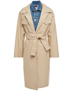 Woman Victorie Layered Cotton-canvas And Denim Trench Coat