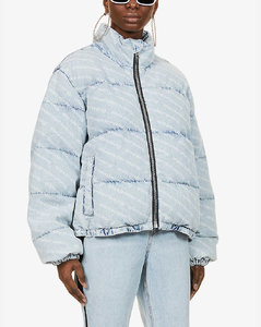 Logo-print denim puffer jacket
