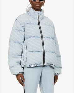 Logo-print denim puffer jacket