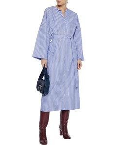 Koda belted striped cotton-poplin midi dress