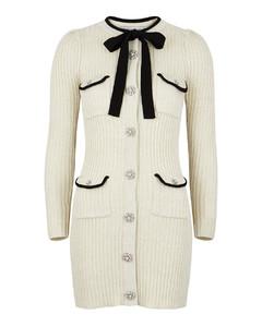 Ivory embellished ribbed-knit mini dress