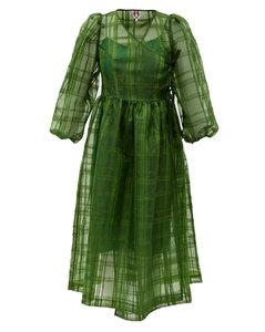 Titania puff-sleeve organza midi dress