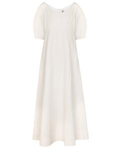 Mytheresa发售 — 亚麻和棉质混纺中长连衣裙