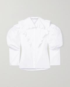 Ruffled Broderie Anglaise-trimmed Cotton-poplin Shirt