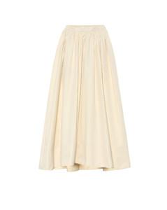 棉質府綢高腰加長半身裙