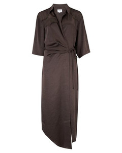 Lais Washed Satin Dress in Espresso
