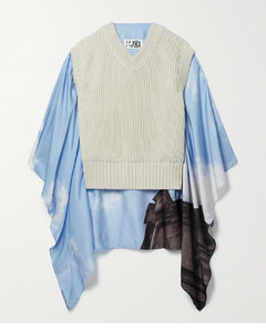 Cape-effect Printed Crepe De Chine And Ribbed Cotton Sweater