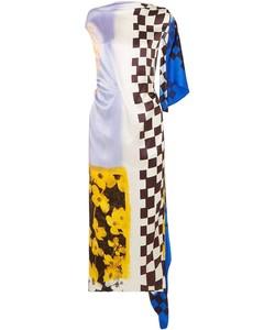 Open-back draped printed silk-satin dress