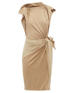 Draped knotted stretch-silk dress