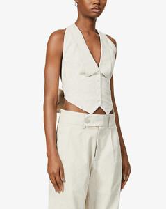 Bettina high-neck linen-blend vest