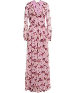 Lace and ruffle-trimmed gathered floral-print silk-georgette gown