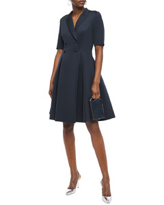 Double-breasted pleated scuba dress