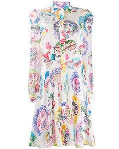 portrait doodle print dress