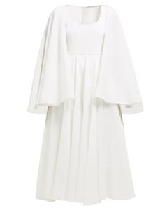 Amelia caped empire-waist cotton-blend dress
