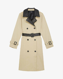 Leather-trimmed stretch-cotton trench coat