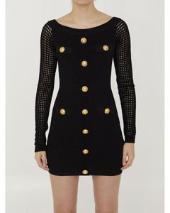 蕾絲邊飾垂墜連衣裙