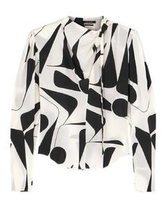 Afavallia printed stretch-silk blouse