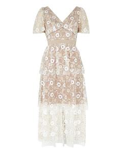 Sequin-embellished tulle midi dress