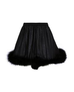 羽毛边饰真丝绉纱短裤
