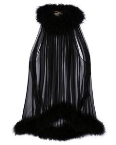 羽毛边饰真丝绉纱上衣