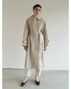 TOS Collar Double Breasted Trench Coat (Beige)