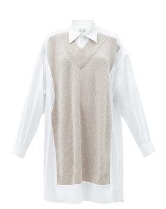 Knitted-overlay cotton-poplin shirt dress