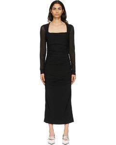 黑色波点网眼连衣裙