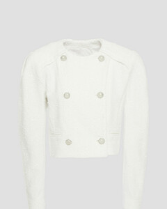 Woman Cropped Sequin-embellished Bouclé-tweed Jacket