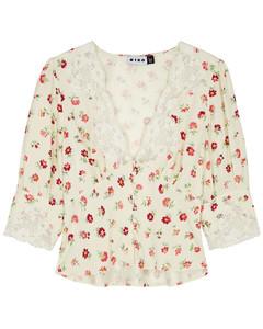 Amanda floral-print lace-trimmed satin top