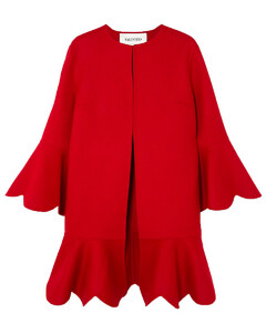 Woman Ruffled Wool And Cashmere-blend Coat