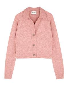 Cade pink fine-knit cardigan