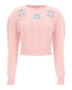 CROPPED KNIT FLOWER SWEATER