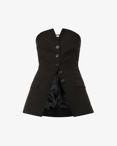 Strapless button-down cotton blazer top
