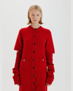 TWIGGY Cable Knit Mini Dress with Sleeve Warmers (Red)