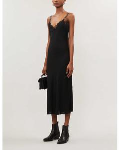 Lace-embellished chiffon midi dress