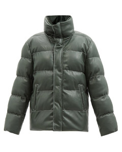 Ace topstitched faux-leather padded jacket
