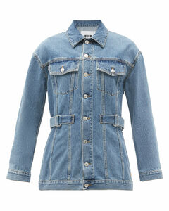 Belted cotton-denim jacket