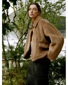 Wool Blend Crop Shearling Jacket