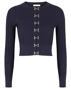 Navy ribbed-knit cardigan